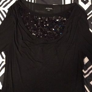 Solid black blouse with sequins